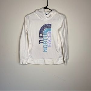 The North Face white hooded sweater Girls 8/10